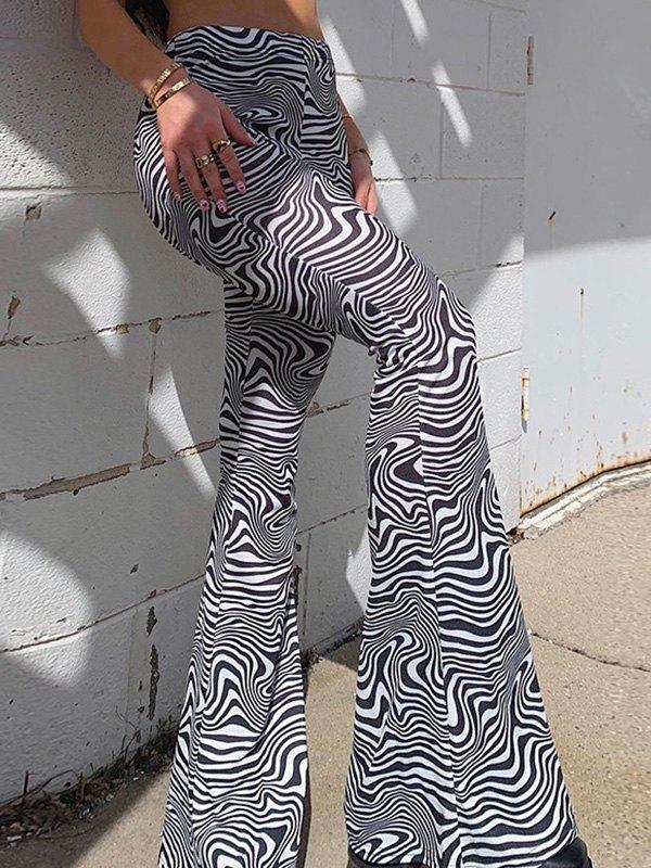 Swirl Flare Leg Pants - Black L