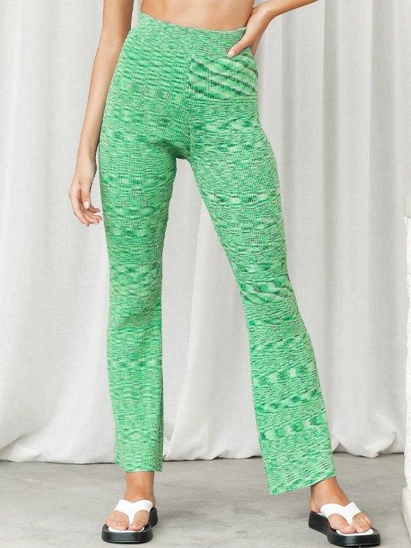 Jacquard Straight Leg Pants - Green S