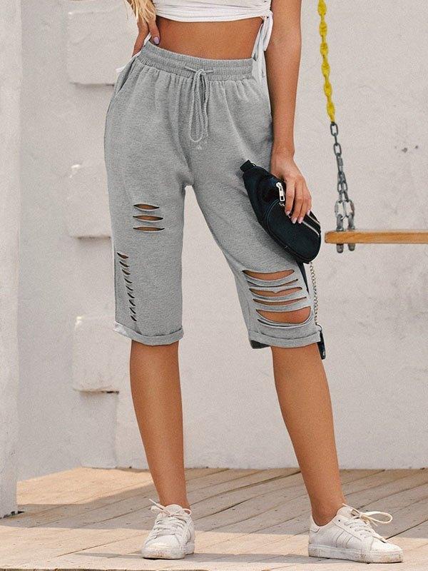 Knee-Length Cutout Sweat Shorts - Gray M
