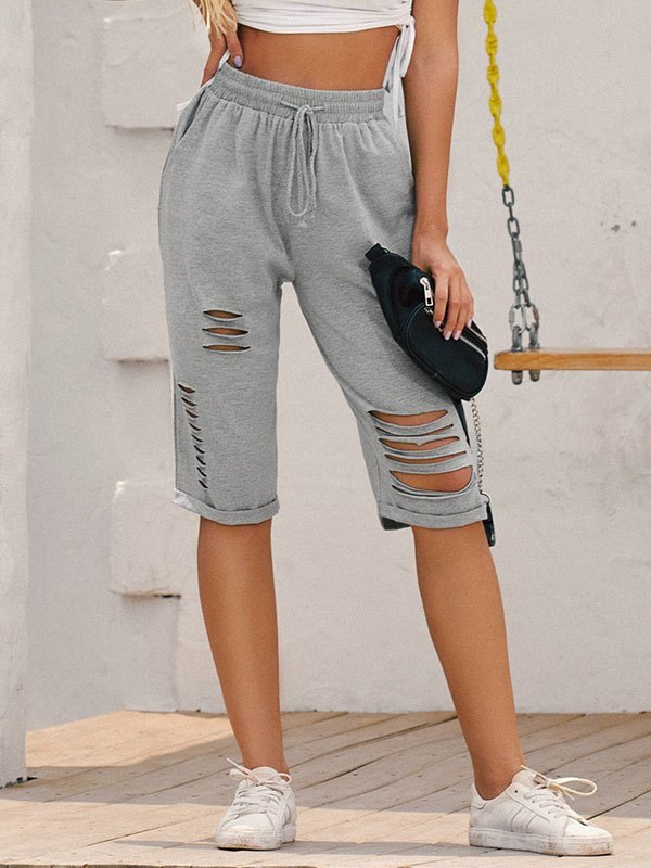 Knee-Length Cutout Sweat Shorts - Gray XL