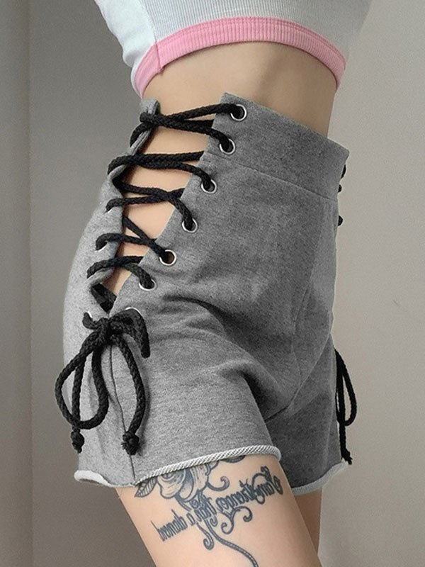 Lace-Up High Rise Shorts - Gray L