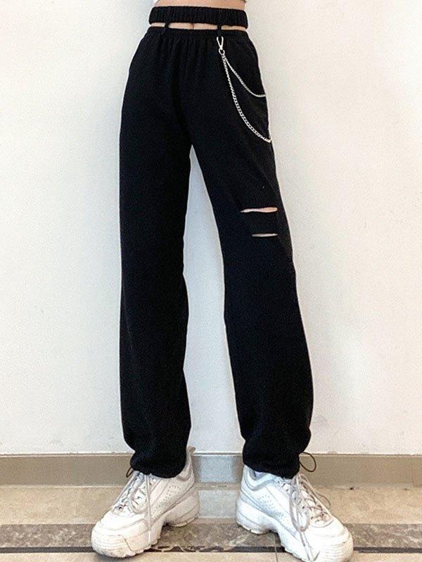 Chain Embellished Cutout Sweat Pants - Black L