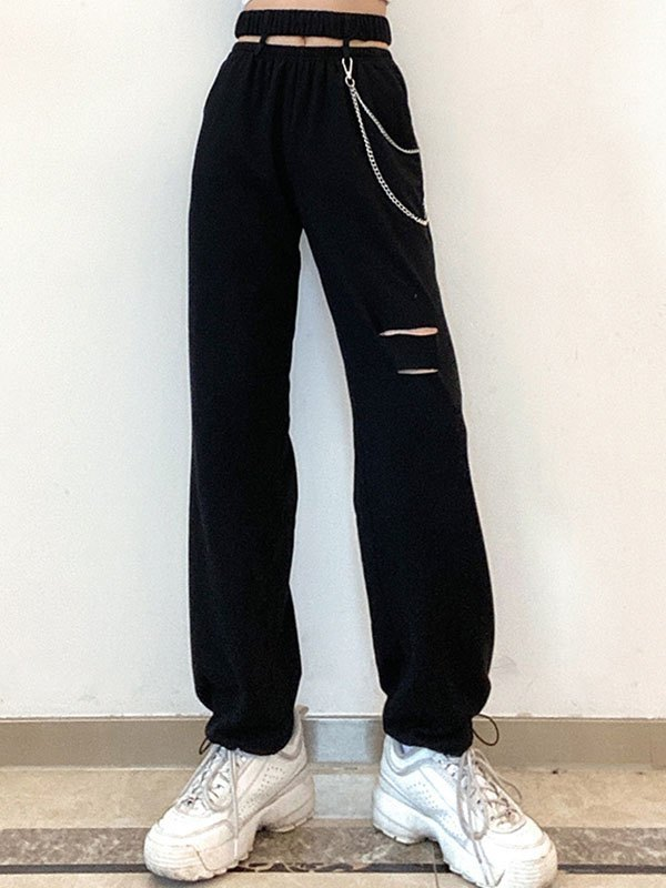 Chain Embellished Cutout Sweat Pants - Black S