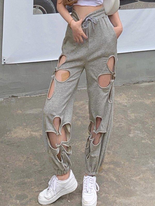 Cutout Flower Sweat Pants - Gray L