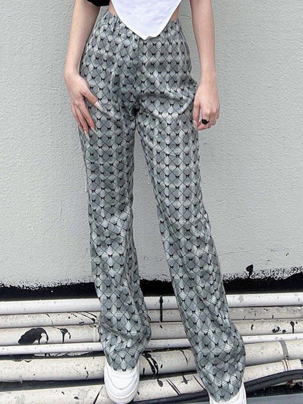 Bow Print Flare Leg Pants - Gray S