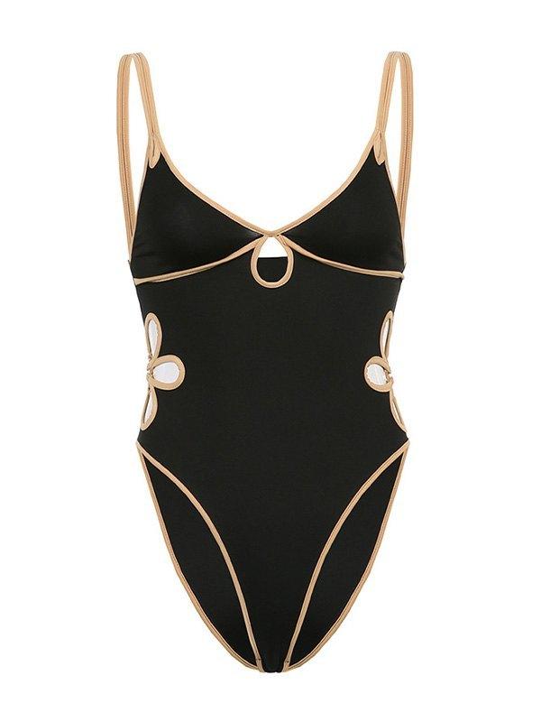 V Neck Flower Cutout Bodysuit - Black L