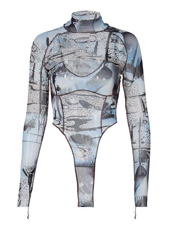 Patchwork Printed Bodysuit Set - Blue L