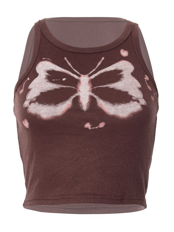 Butterfly Graphic Crop Tank Top - Brown S