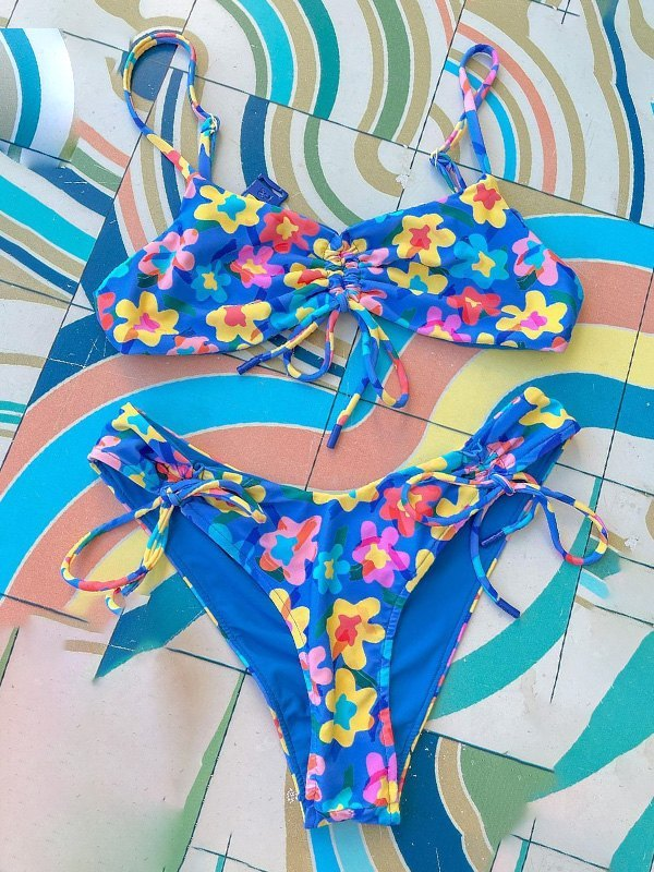 Lace-Up Floral Bikini Set - Blue M