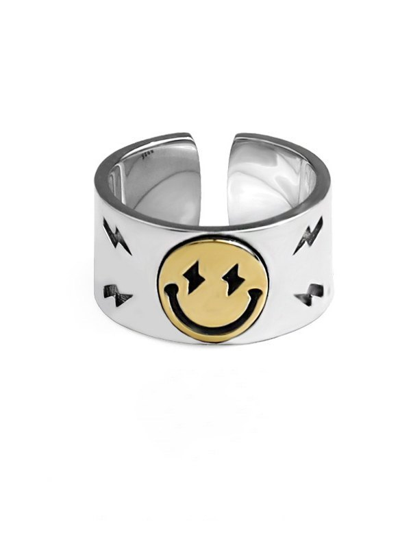 Smiley Decor Ring - Silver ONE SIZE