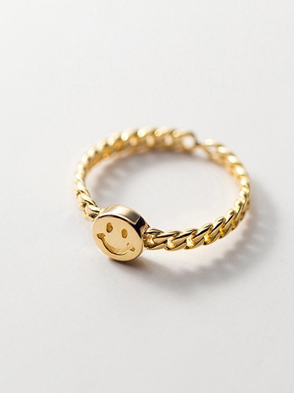 Smiley Decor Ring - Golden ONE SIZE
