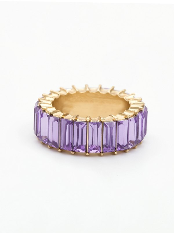 Vertical Glass Ring - Purple ONE SIZE