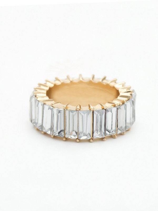 Vertical Glass Ring - White ONE SIZE