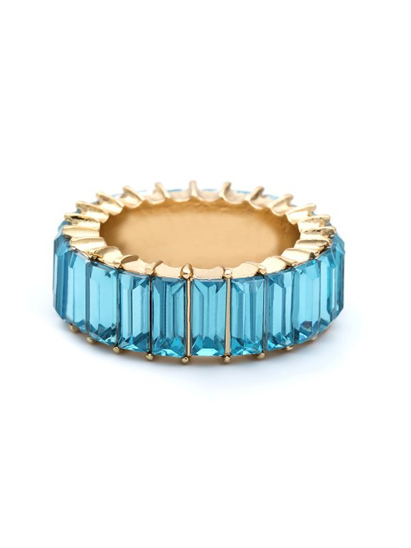 Vertical Glass Ring - Blue ONE SIZE