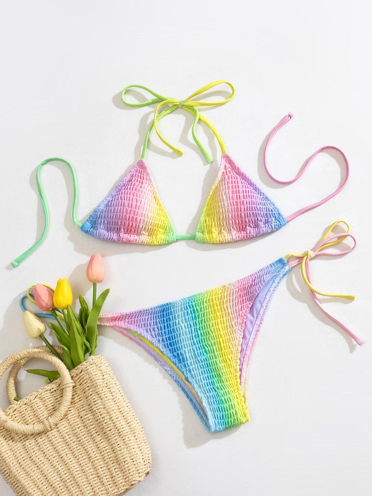 Rib Rainbow Bikini Swimsuit - Mixcolor L
