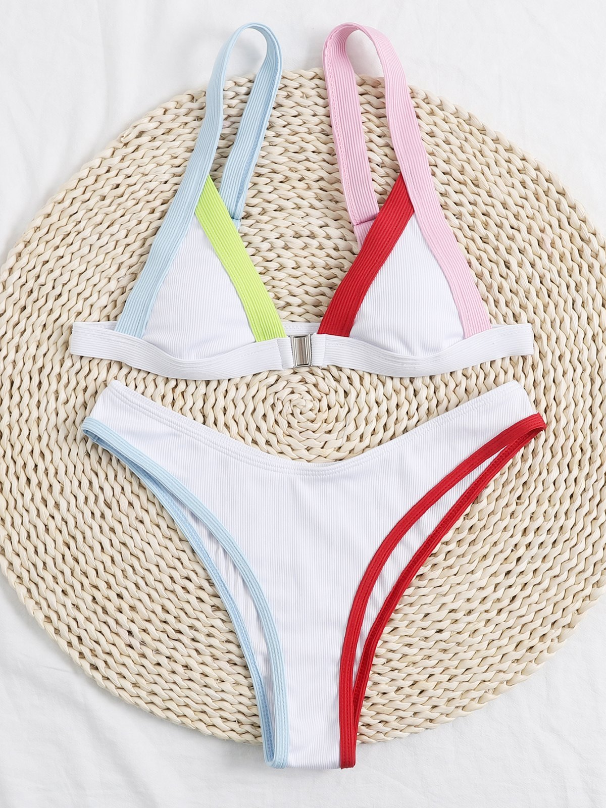 Rib High Waist Bikini Swimsuit - White L