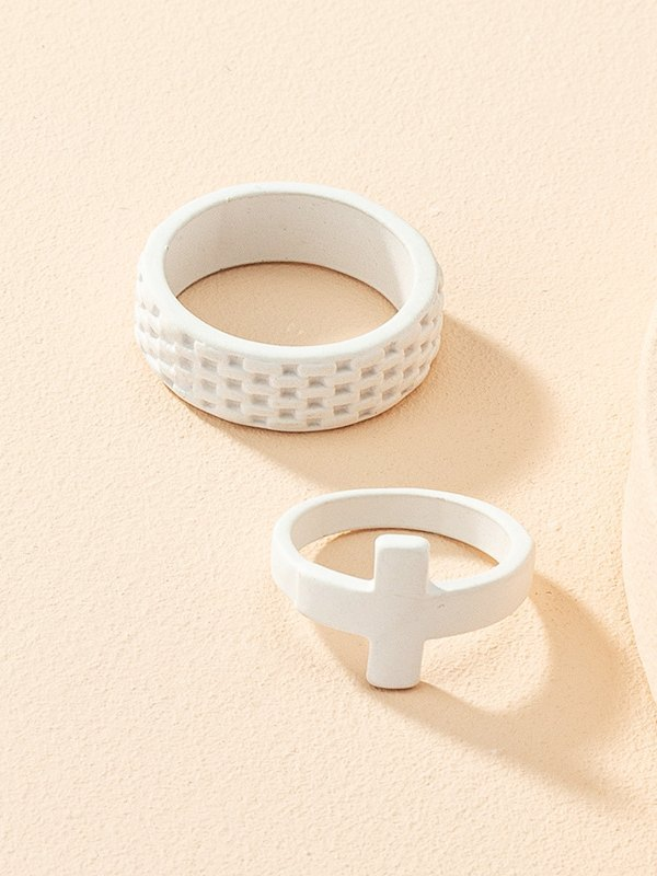 2Pcs Cross Decor Ring - White ONE SIZE