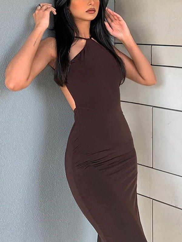 Open Back Bodycon Slip Midi Dress - Brown L