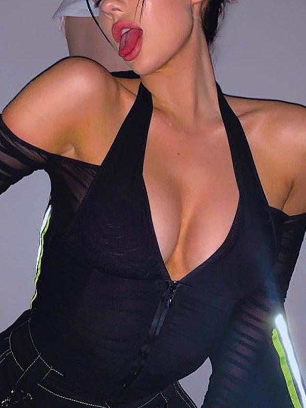Cold Shoulder Halter Top - Black L
