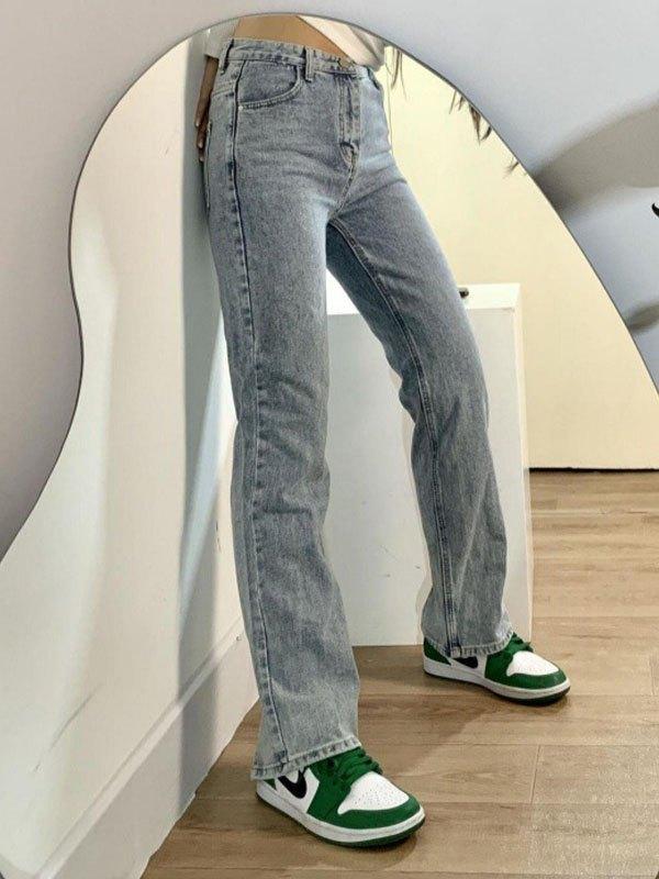 Distressed Split Boyfriend Jeans - Blue S