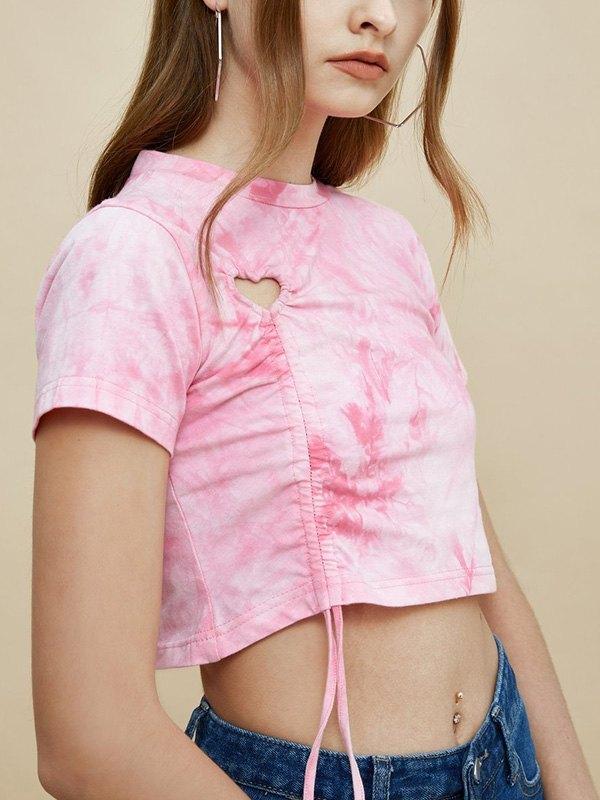 Tie-Dye Drawstring Crop Top - Pink L