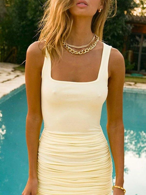 Ruched Bodycon Strap Mini Dress - Yellow S
