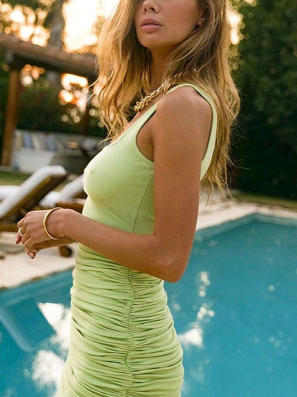 Ruched Bodycon Strap Mini Dress - Green L