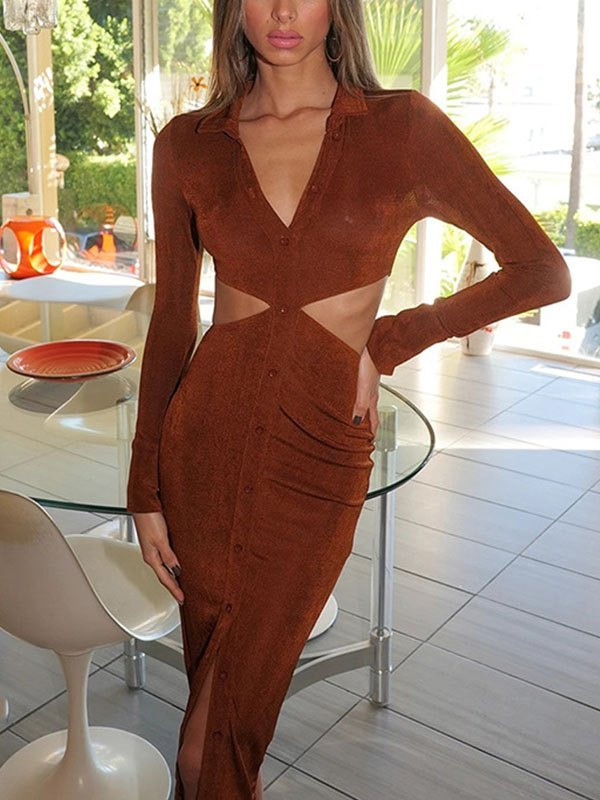 Cutout Long Sleeve Bodycon Midi Dress - Brown L
