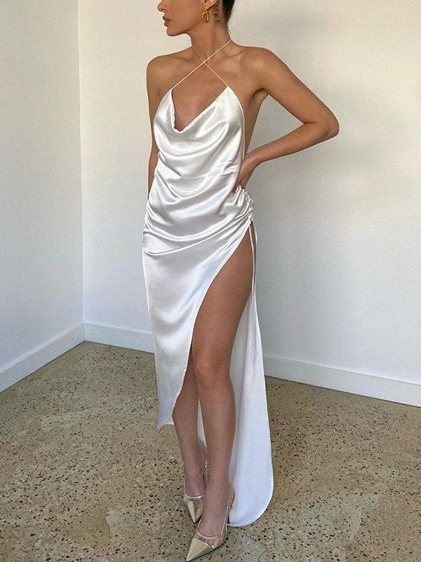 Open Back Satin Split Midi Dress - White S