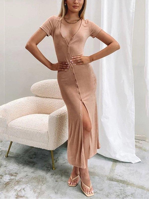 Short Sleeve Bodycon Party Midi Dress - Apricot L