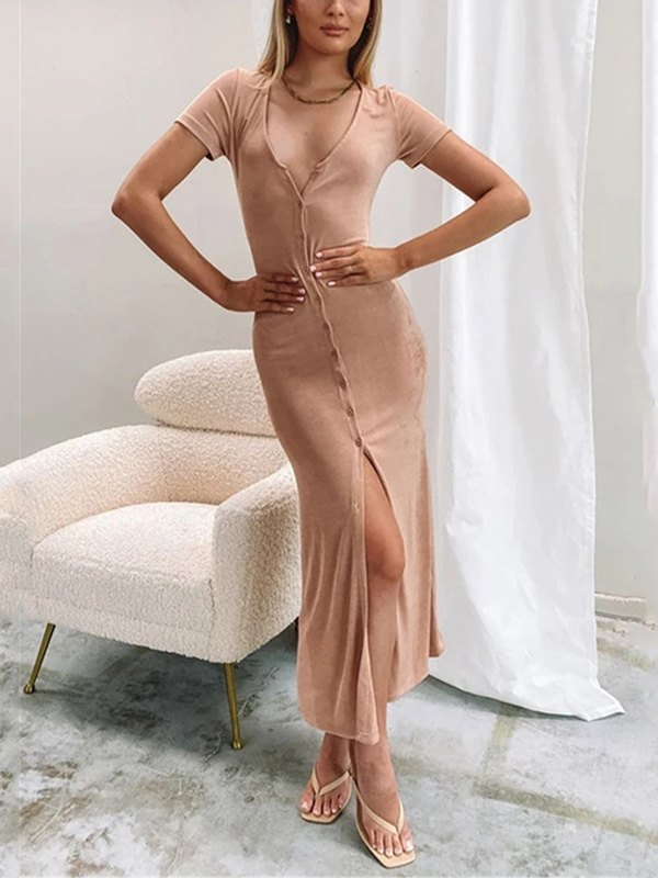 Short Sleeve Bodycon Party Midi Dress - Apricot S