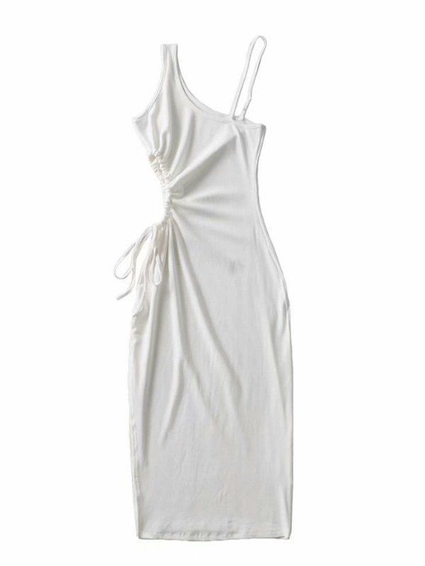 One Shoulder Split Midi Dress - White S