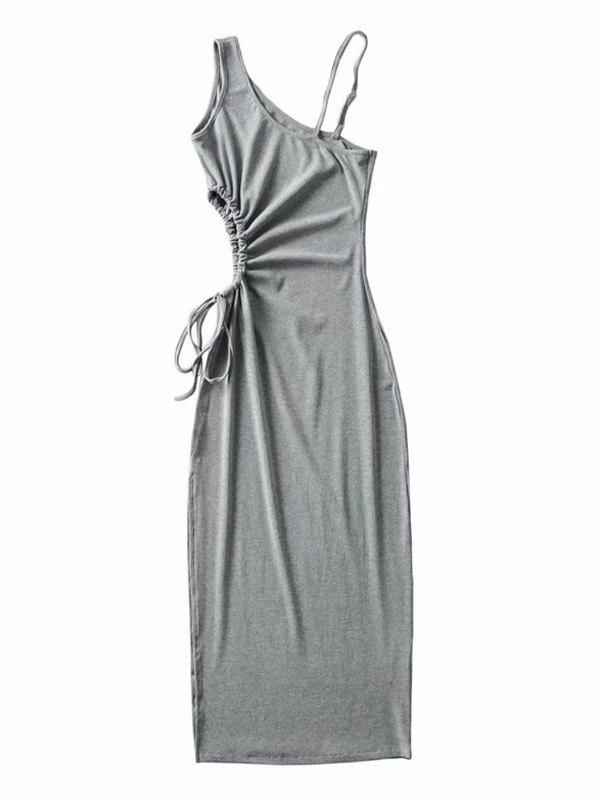 One Shoulder Split Midi Dress - Gray S