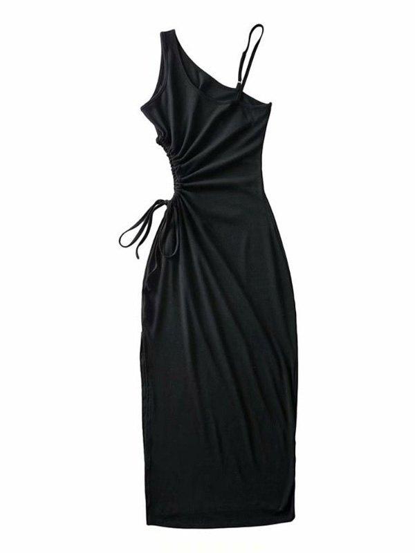One Shoulder Split Midi Dress - Black M