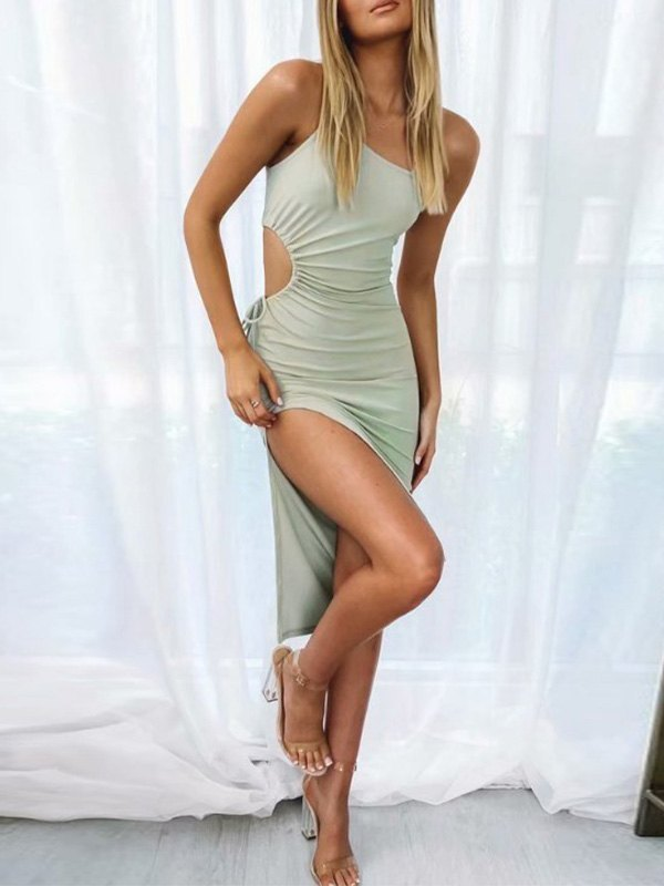 One Shoulder Split Midi Dress - Green S