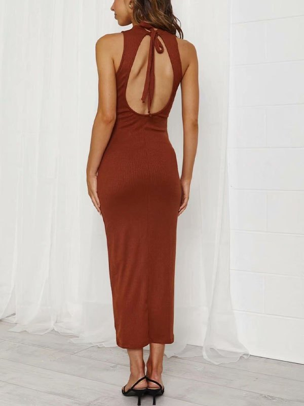 Open Back Split Bodycon Midi Dress - Orange Red M