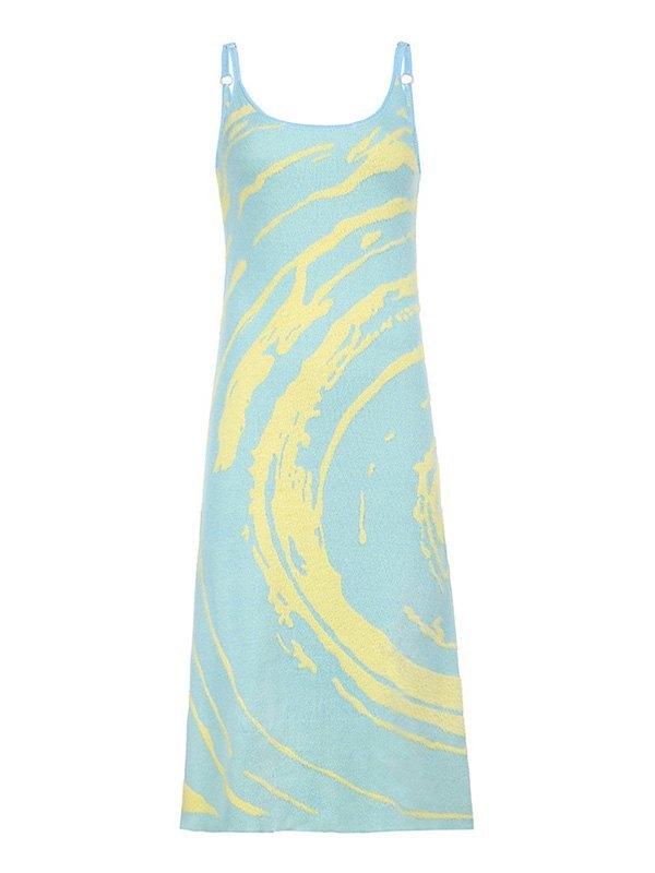 Swirl Cutout Woolen Midi Dress - As The Picture M