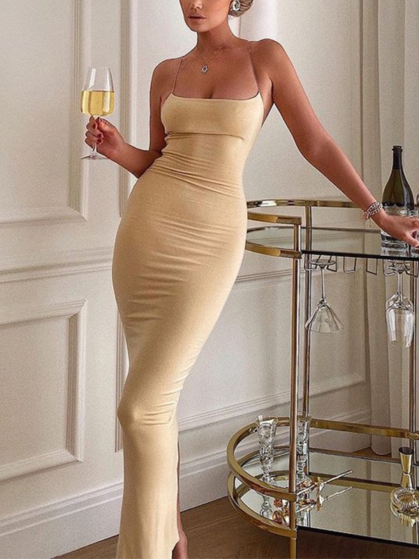 Open Back Bodycon Slip Midi Dress - Khaki L