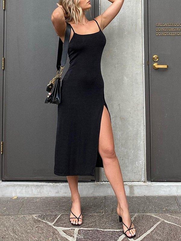 Slit Sling Bodycon Midi Dress - Black S