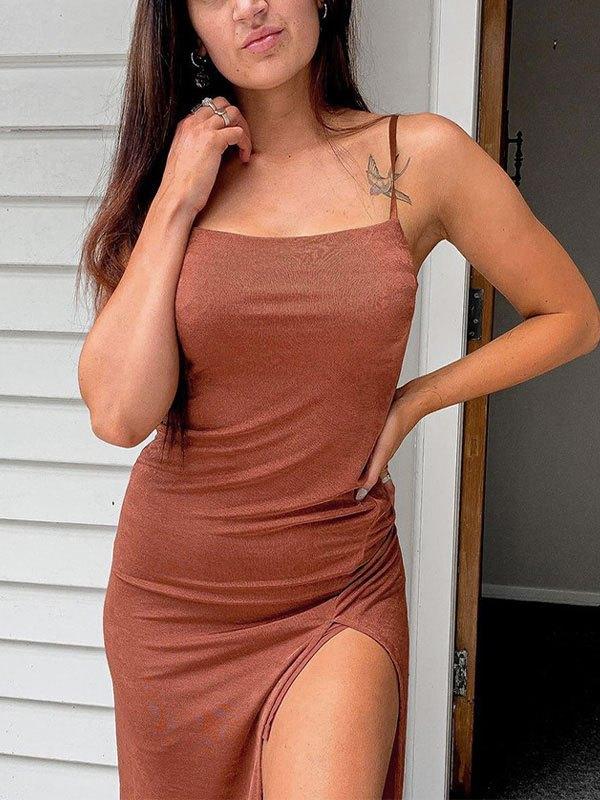 Slit Sling Bodycon Midi Dress - Coffee L