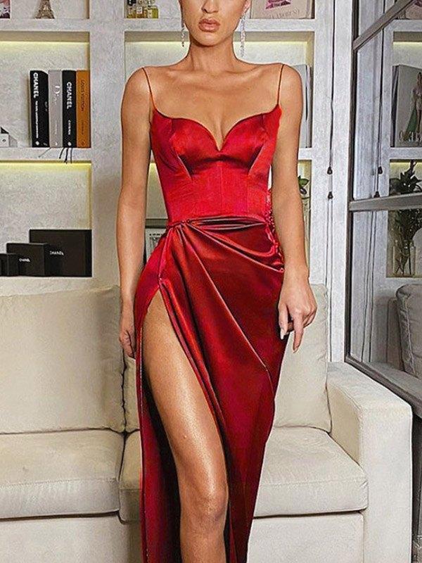 Satin Slit Sling Midi Dress - Red M
