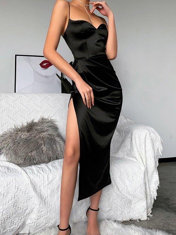 Satin Slit Sling Midi Dress - Black S