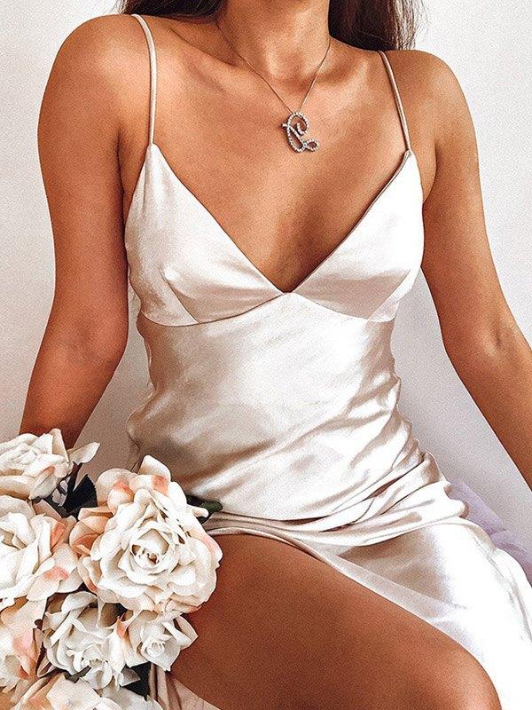 V Neck Satin Slit Midi Dress - White L