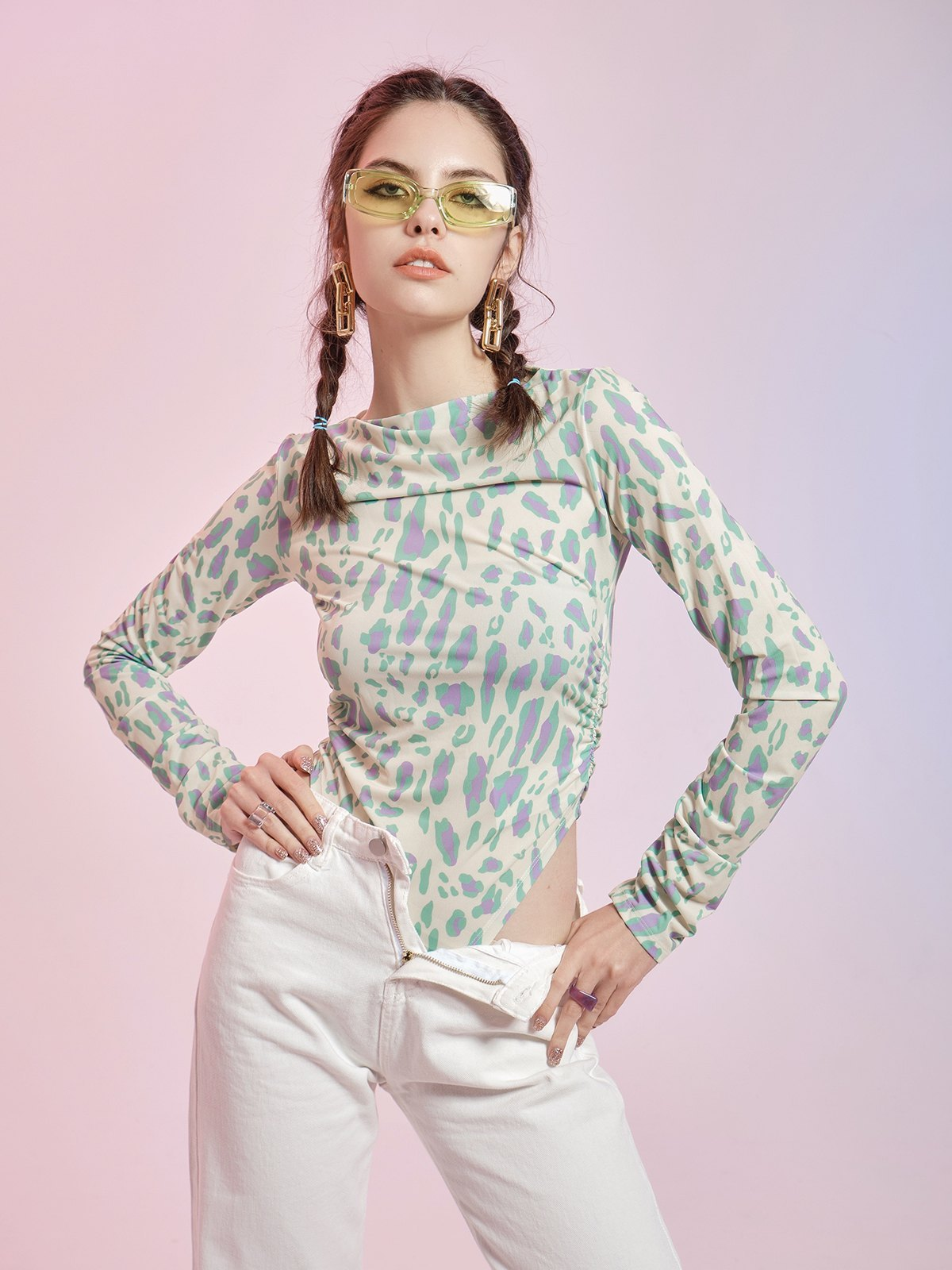 Long Sleeve Leopard Print Bodysuit - Leopard Print S