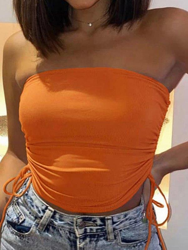 Solid Drawstring Side Tube Top - Orange XS