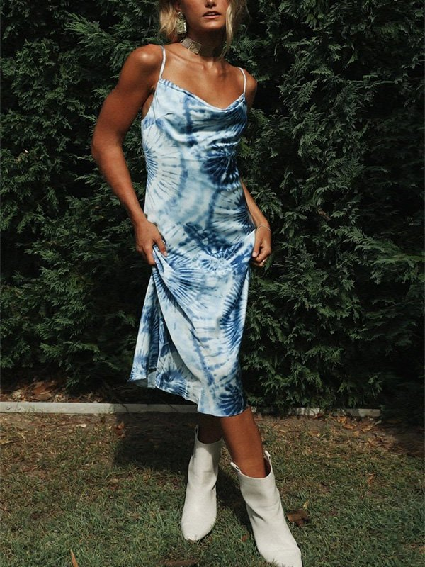 Tie-Dye Sling Midi Dress - Blue L