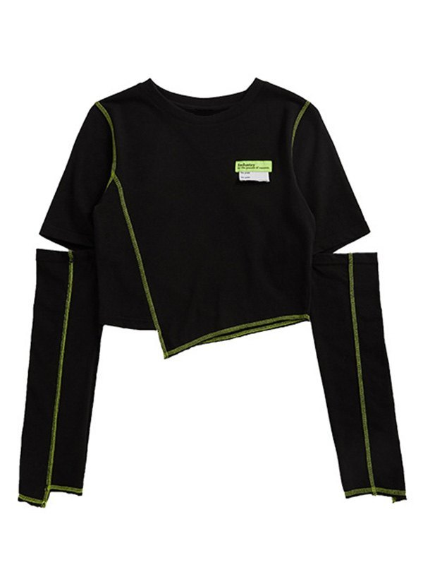 Irregular Cutout Crop Top - Black L