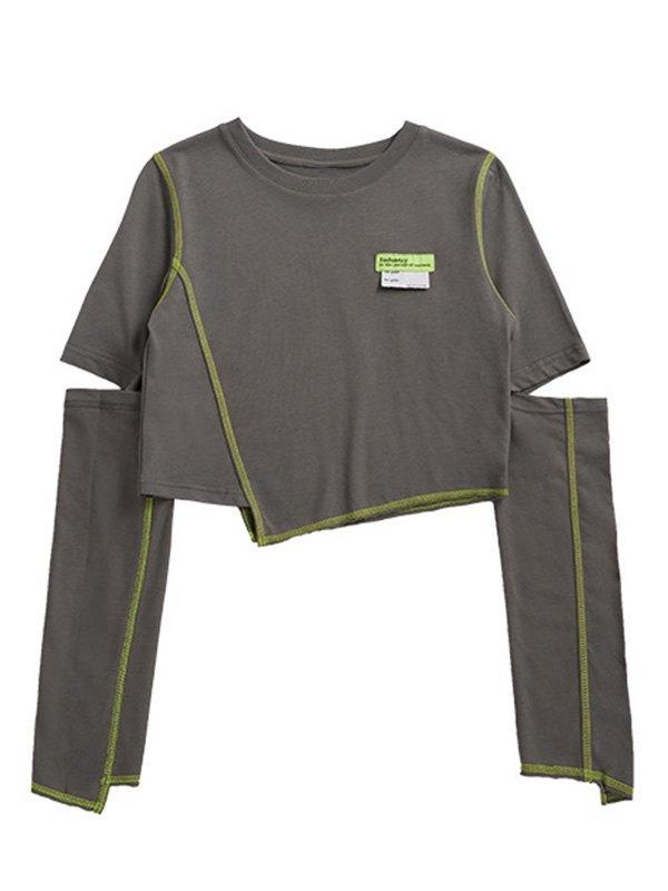 Irregular Cutout Crop Top - Gray L
