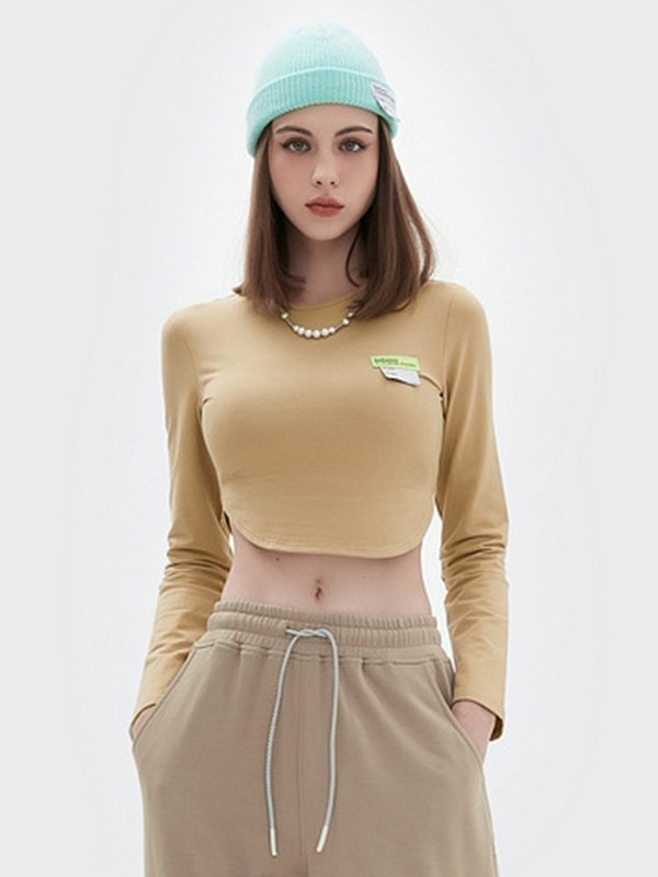 Long Sleeve Crop Top - Khaki L