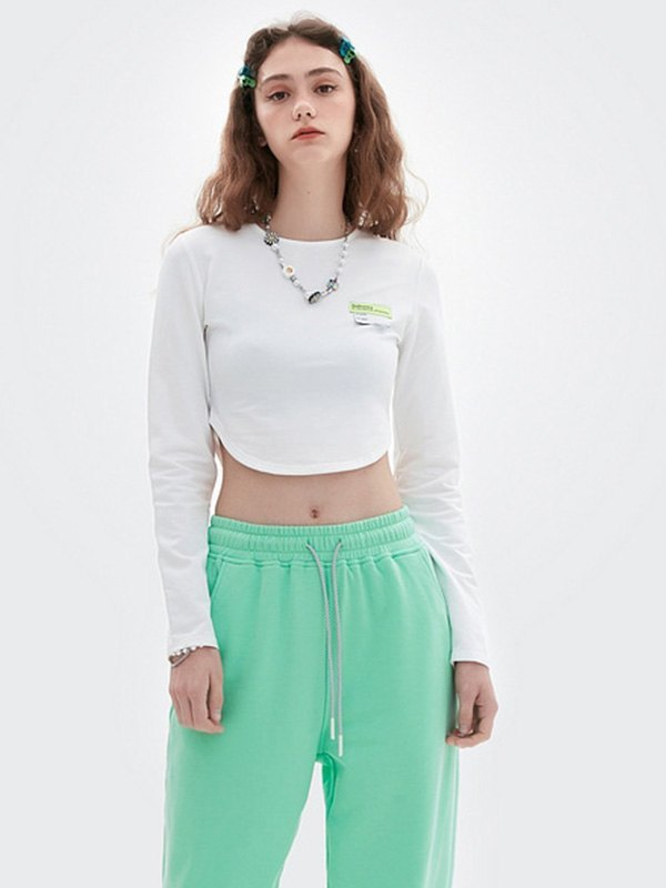 Long Sleeve Crop Top - White L